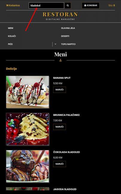 012 Za brzu pretragu može upisati jelo koje želi, npr Sladoled